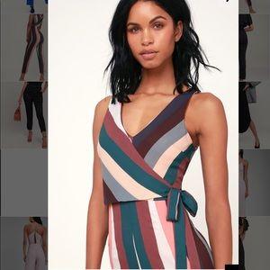 Striped sleeveless tie waist jumpsuit